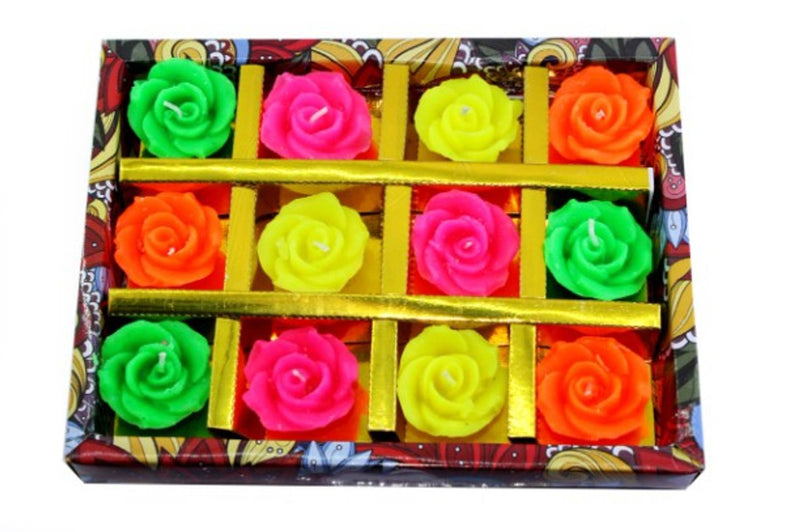 Premium Multicolored Rose Shape Decorative Candles ( Set Of 12  Pieces )