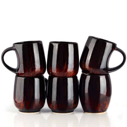 Cola Colour Glossy Finish Milk & Coffee Mugs Set of 6 pcs