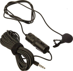 Omnidirectional Lavalier Condenser Microphone with 20 ft Audio Cable (Black)