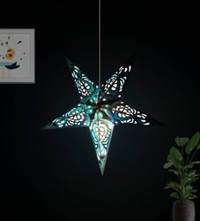 Purple Blue Victoria offset Paper Star Lantern Lampshade for All Party & Festival/Hanging Christmas Xmas Day Decoration Birthday/Party Home/Diwali - 60 Cm