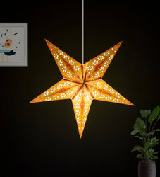 Red Yellow Pumpkin Offset Paper Star Lantern Lampshade for All Party & Festival/Hanging Christmas Xmas Day Decoration Birthday/Party Home/Diwali - 60 Cm