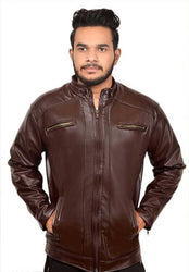 Mens stylish pu leather jacket