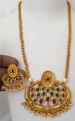 Shimmering Bejeweled Pendants And Lockets with Earrings For Women