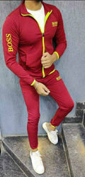 BRANDED MAROON FOUR WAY POLYESTER SPANDEX MEN'S TRACKSUITS