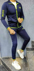 BRANDED NAVY BLUE FOUR WAY POLYESTER SPANDEX MEN'S TRACKSUITS