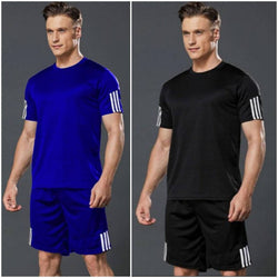 Elite Polyester Spandex Self Pattern Sports Tees And Shorts Set For Men- Pack Of 2