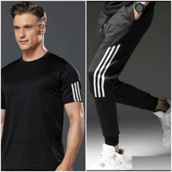 Elite Polyester Spandex Striped Sports Tees And Joggers Set For Men