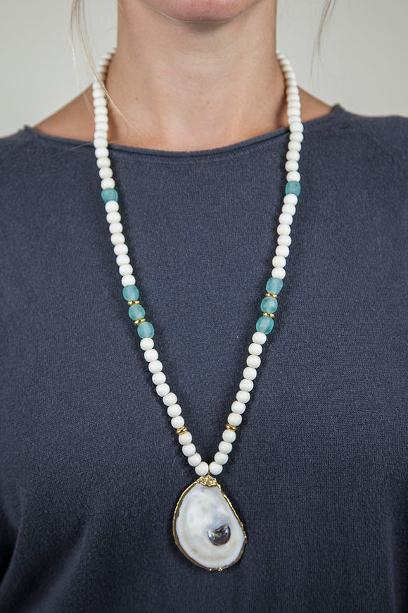 SEAFOAM + WHITE SLIM OYSTER NECKLACE