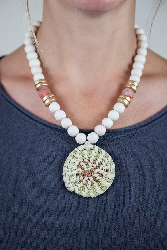 PINK + WHITE SWEETGRASS NECKLACE