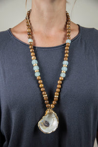 SEAFOAM + BROWN OYSTER NECKLACE