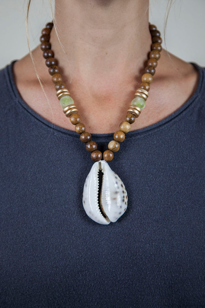 GREEN + BROWN COWRIE NECKLACE