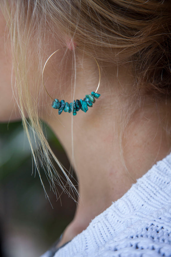 TURQUOISE CHIP HOOPS