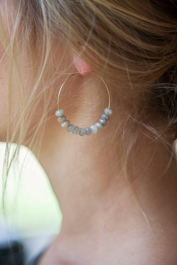 LABRADORITE GEMSTONE HOOPS