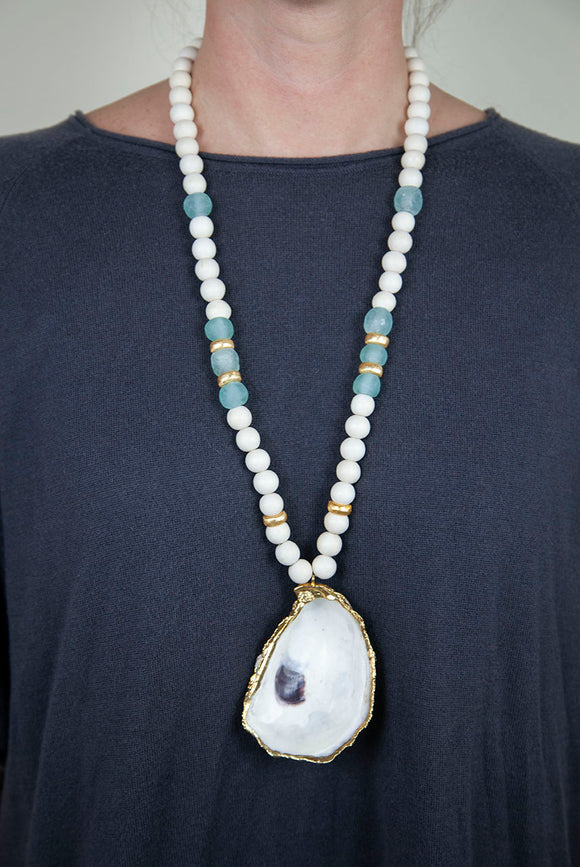 SEAFOAM + WHITE OYSTER NECKLACE