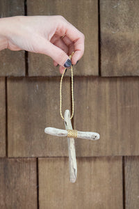DRIFTWOOD + GOLD CROSS ORNAMENT