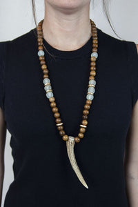 CLEAR + BROWN ANTLER NECKLACE