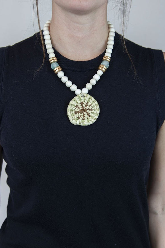 SEAFOAM + WHITE SWEETGRASS NECKLACE