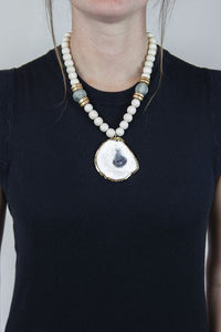 BLUE + WHITE OYSTER NECKLACE