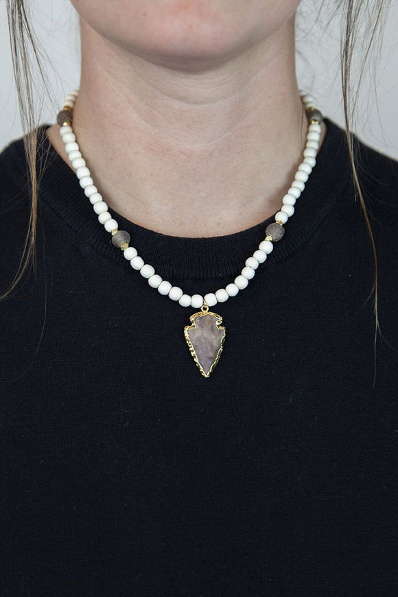 PURPLE + WHITE ARROWHEAD NECKLACE