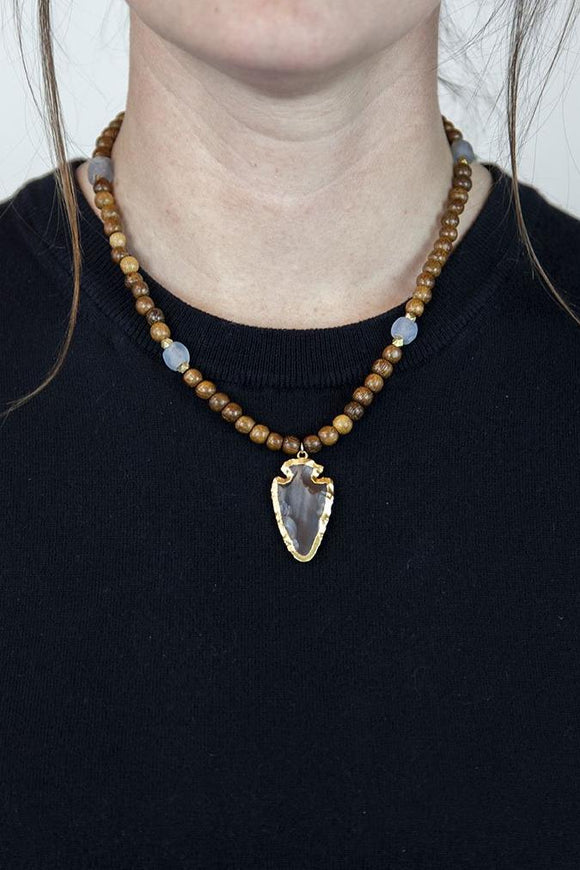 BLUE + BROWN ARROWHEAD NECKLACE