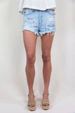 DISTRESSED BLUE JEAN SHORTS
