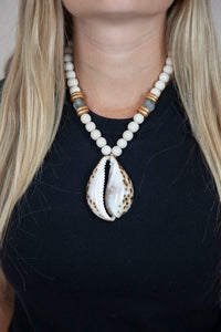 GRAY + WHITE COWRIE NECKLACE