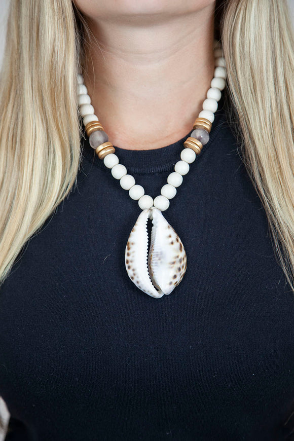 PURPLE + WHITE COWRIE NECKLACE