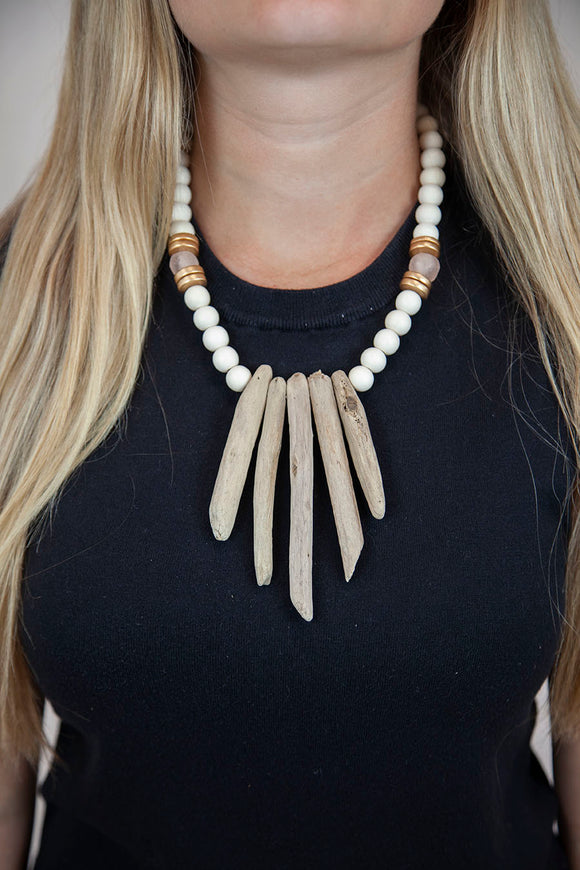 PINK + WHITE DRIFTWOOD NECKLACE