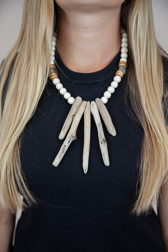 GRAY + WHITE DRIFTWOOD NECKLACE