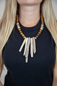 GRAY + BROWN DRIFTWOOD NECKLACE