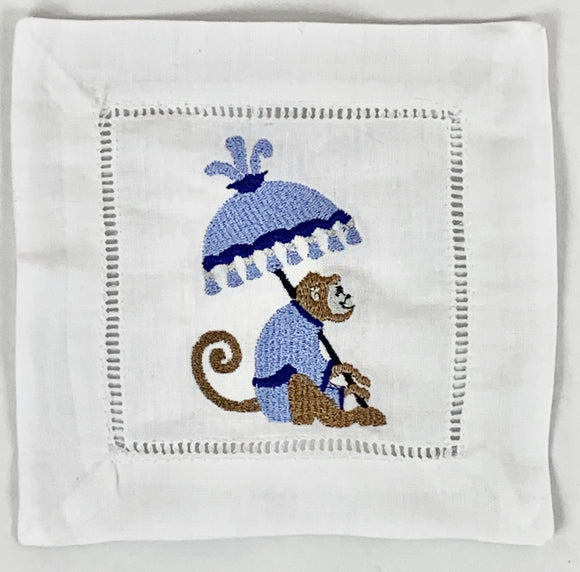 CHIC MONKEY WITH UMBRELLA COCKTAIL NAPKINS