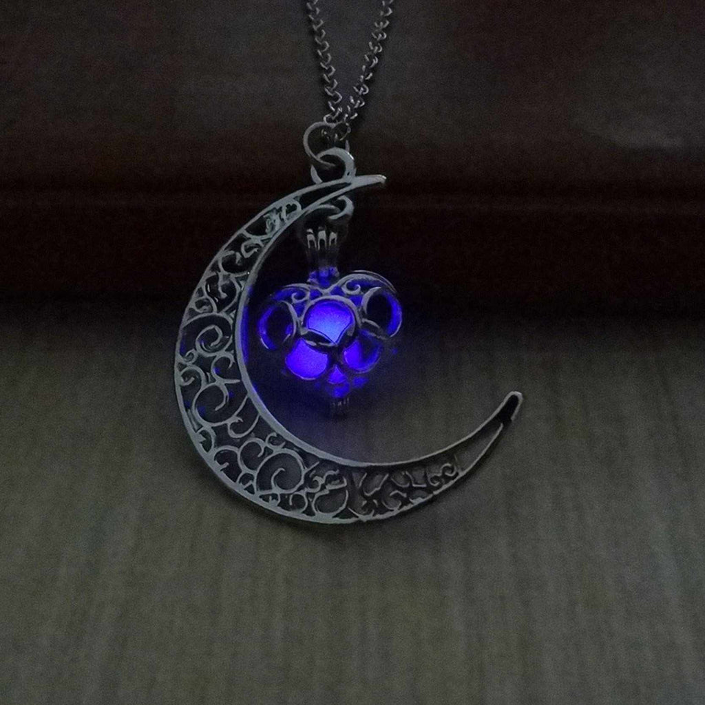 Glowing Moon & Heart Silver Plated Necklace