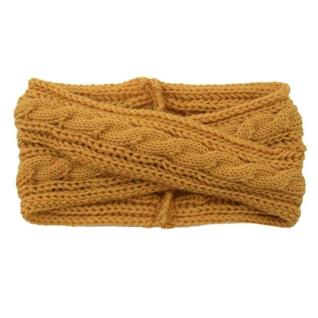 Women Knitted Patchwork Headbands Female Winter Warm