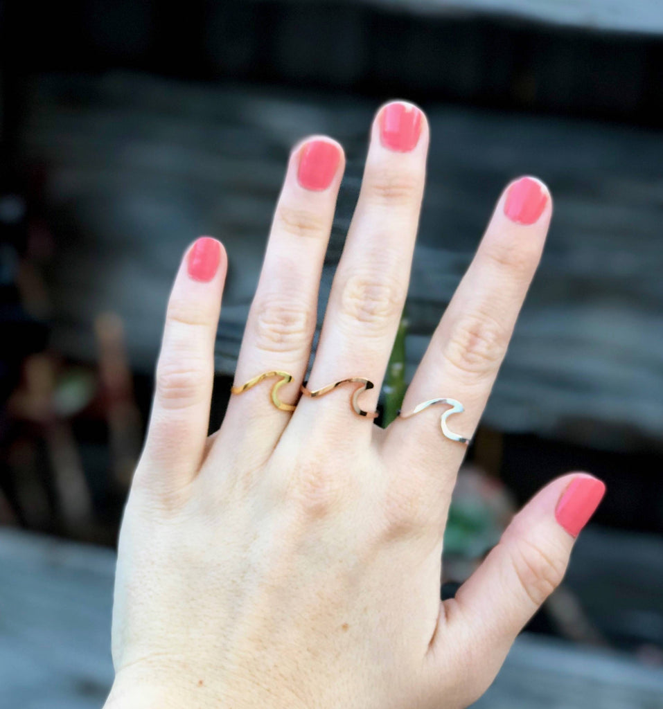 Antique Rose Gold Silver Surfer Wave Ring for Women