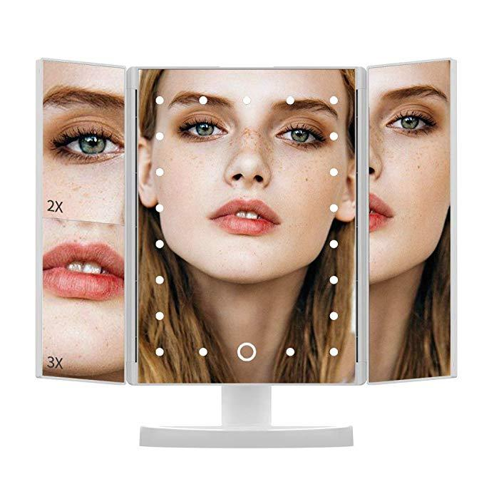 Led Makeup Vanity Mirror Tri Fold 10x Magnifying Mirror with Lights