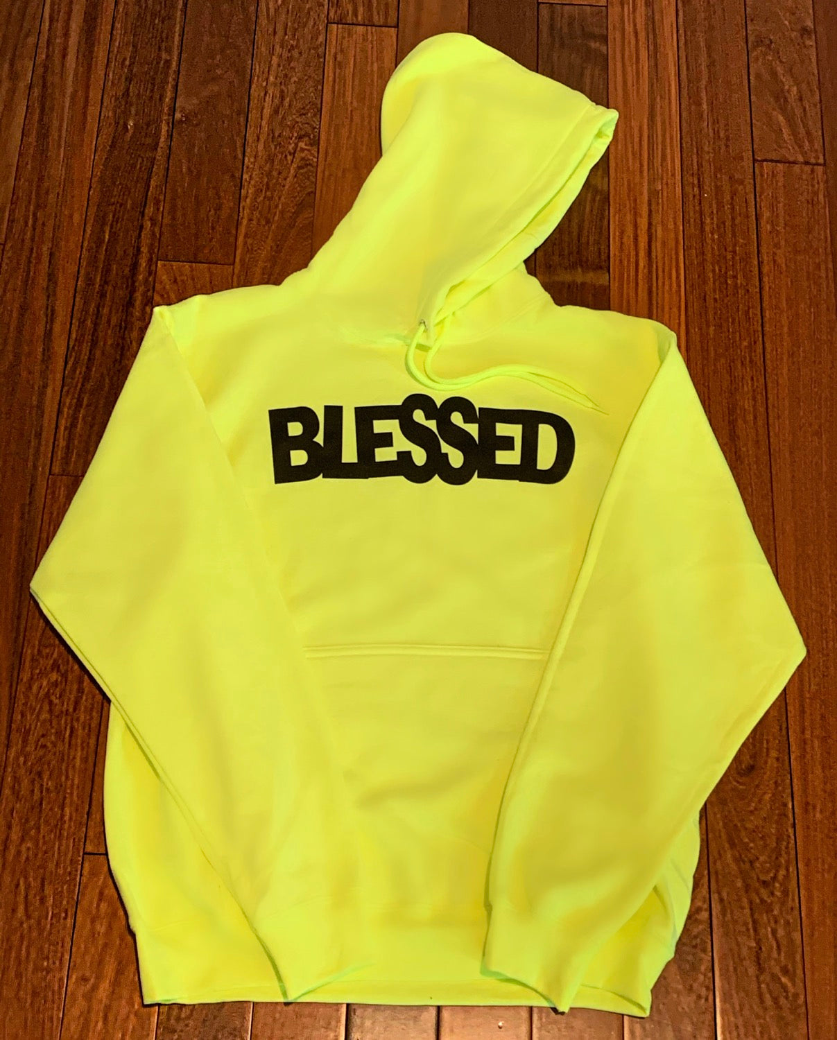 Neon Yellow & Black BLESSED Hoodie