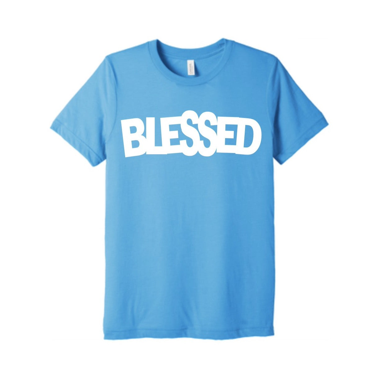 BLUE AND WHITE BLESSED TEE
