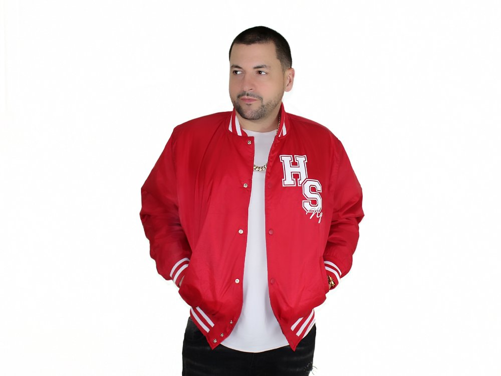 RED & WHITE VARSITY JACKET