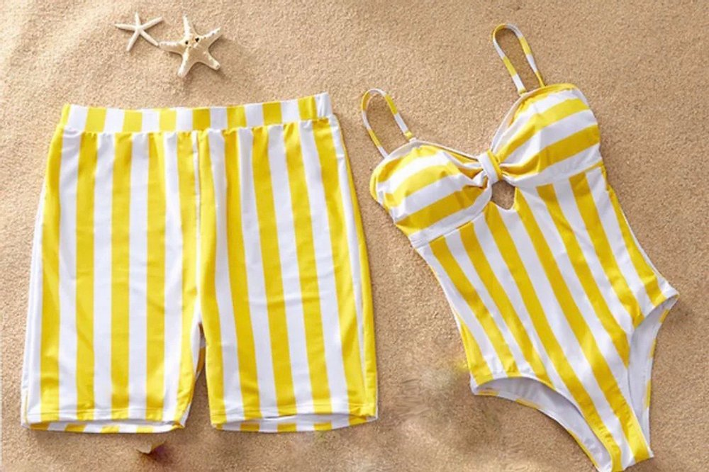 Yellow Stripe Couple Swimsuit