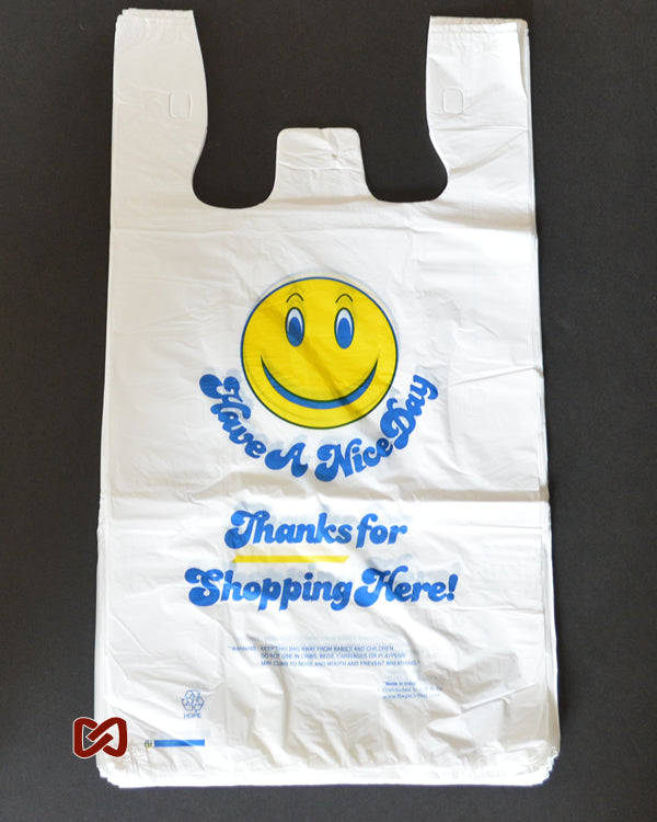 XL Smiley Face Printed T-Shirt Shopping Bag