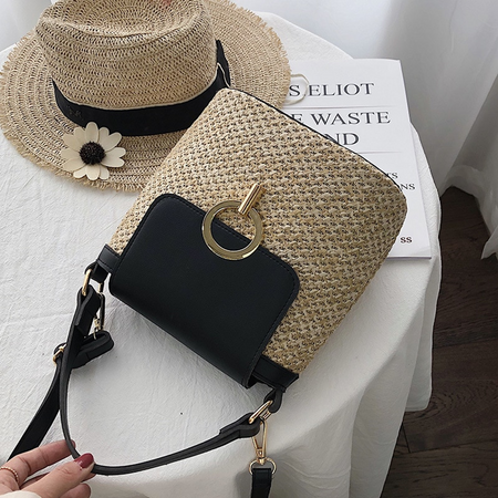 Small Straw Black Bucket Bag