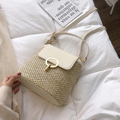 Small Straw Brown White Bag