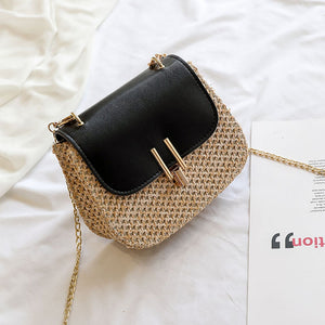 Summer Rattan Square Black Bag
