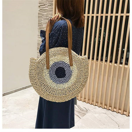 Round Bohemian Casual Handmade Cream Bag