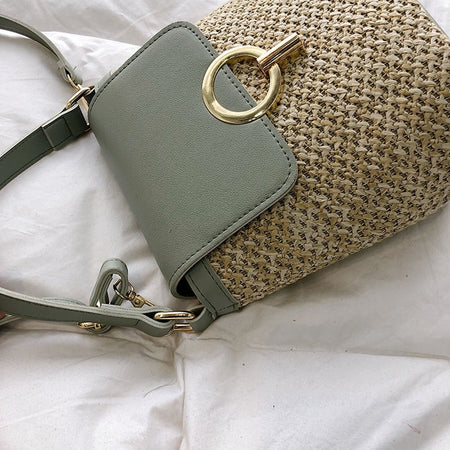 Small Straw Green Bucket Bag