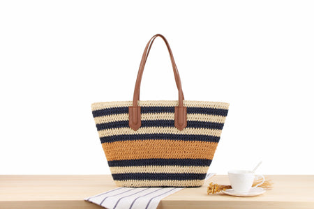 Striped Shoulder Straw Bag