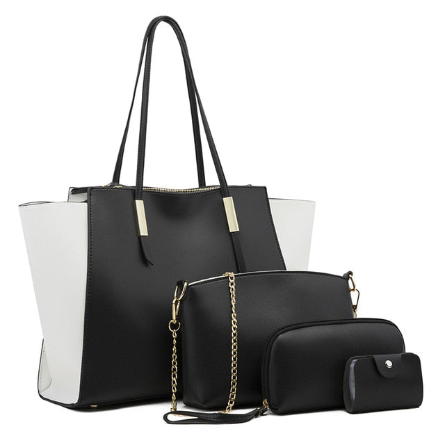 Black Large Tote Bag Plus 4 Piece Set