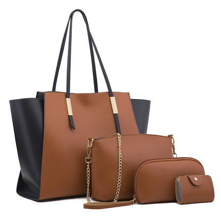 Dark Beige Large Tote Bag Plus 4 Piece Set