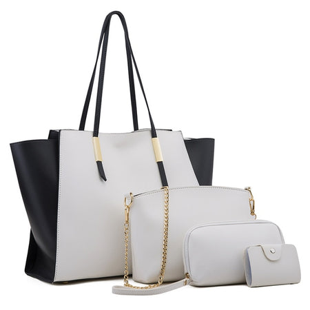 White/Black Large Tote Bag Plus 4 Piece Set
