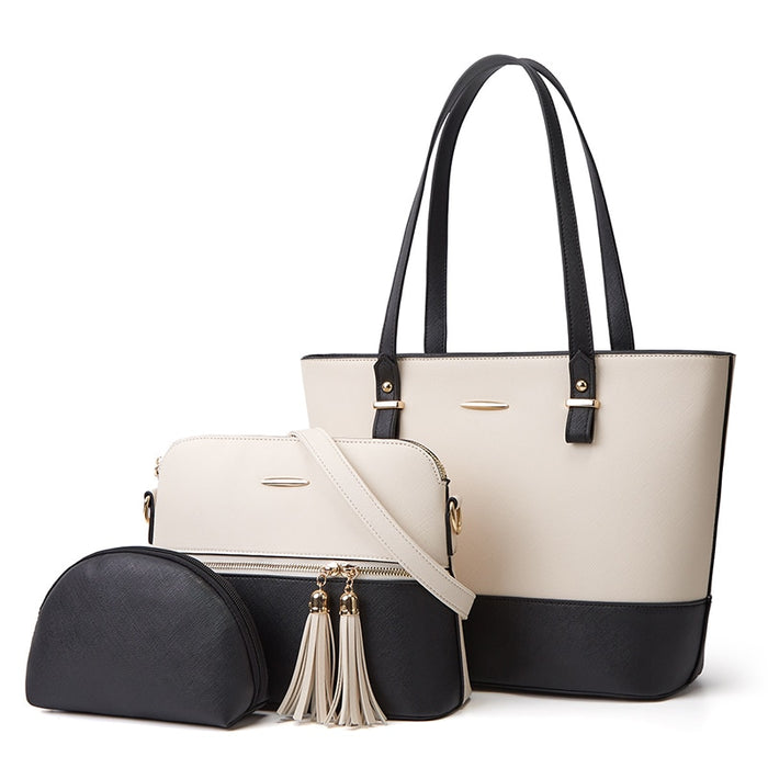 White/Black Hand Bag 3 Piece Set